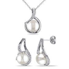 Sterling Silver Pearl & 1/10 Ct TDW Diamond Drop Necklace Earrings Set 9-9.5 mm