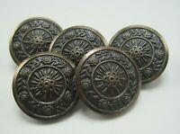 """5 Vintage Metal Buttons Bronze Color Floral Pattern Pretty 3/4"""" Diameter T5"""
