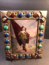 Antique French Enamel Plaque/ Jeweled Bronze Frame/ Signed/ 19 Century