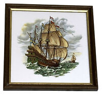 Vintage H & R Johnson Ceramic Glazed Tile Framed Art Detail Sailing Ship England