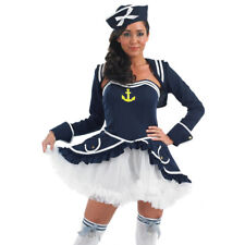 Ladies Sexy Sailor Girl Fancy Dress Costume Tutu Navy Womens Outfit NEW