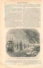 Raid sur la Medway Armada Flotte Pays-Bas Sheerness Tamise GRAVURE PRINT 1861