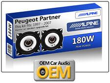 """PEUGEOT Partner Anteriore AMMORTIZZATORE Altoparlanti Alpine 10cm 4"""" KIT CAR SPEAKER 180W MAX"""