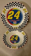 Jeff Gordon NASCAR 24 Rare Dinner Plate & Soup Cereal Bowl Set Highlight Sports