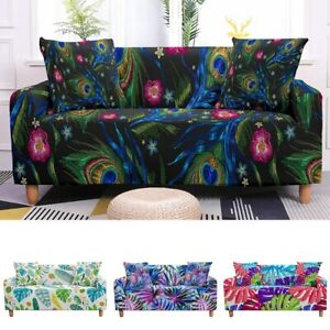 Tropical Leaves Stretch Sofa Cover for Living Room Sectional Elastic Slipcovers