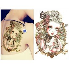 Lovely Big Eyes Doll Body Art Waterproof Paper Temporary Tattoo Decals