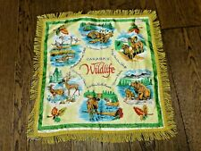 Canada Wildlife Souvenir Pillow Cover Case Fringed Vintage Tourist Giftcraft