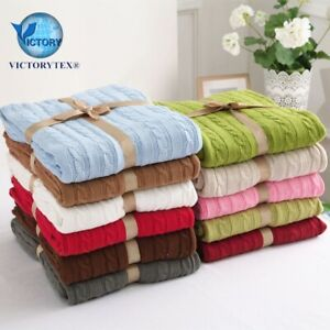 Cable knitted Snugly Cosy throw blanket for beds sofa armchair prams 120x180cm