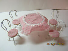 Dollhouse Table & 4  Chairs  White Metal, Wood Top, Pink & White Checks, 1980's