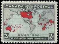 Canada #85 mint VF OG NH 1898 Map/Xmas 2c black,blue & carmine CV$180.00