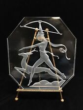 German Art Deco Goddess Diana the Huntress Etched Glass Table Lamp Panel 11 x 10