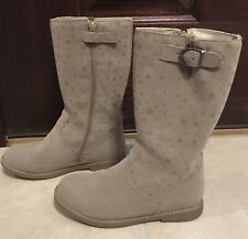 Hanna Anderson Youth Girls Carine 2 Driftwood Light Brown Star Boots Size 2 EEUC