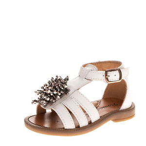 ROMAGNOLI Kids Leather Ankle Strap Sandals EU 19 UK 3 US 4 Beads Cut Out Buckle
