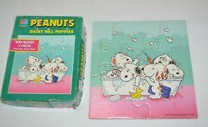 Vintage Milton Bradley PEANUTS 5 piece Jigsaw Puzzle DAISY HILL PUPPIES RARE 5pc