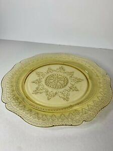 "Vintage Yellow Depression Glass Dinner Plate, Patrician/""Spoke"" Design, 1930's"