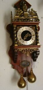 Vintage GermanDutch Holland Zaanse Warmink 8 Day Clock Atlas World Bell Working