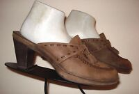 CLARKS Artisan Brown Distressed Nubuck Leather Heeled Slide Sz. 9M