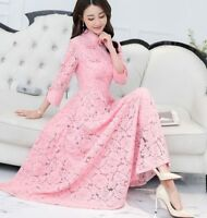 2018 Women Retro Occident Ladies Full Lengt Long Sleeves Slim Fit Lace New Dress