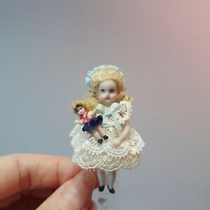 """629 Dollhouse French Bebe miniature in lace dress w micro Shirley Temple, 2 1/4"""""""