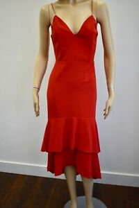 Alice + Olivia Red Mid Calf Cocktail Dress Size 10 On Sale