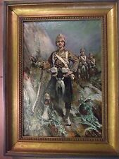 WW1 Military Oil painting of Scottish highlander of Black Watch regiment.