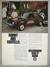 Volkswagen VW Rabbit PRINT AD - 1979 ~~ Rabbit & Costello Photography