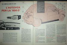 *ARTICOLO  AUTOVOX PER LA FIAT 600 D --  1962
