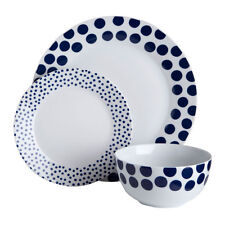 12pc Dinner Set Porcelain Blue Spots Design Serving Dining Tableware