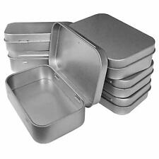 Metal Box Tin-Plated Container 6pcs Hinged Lid Small Empty Storage Mint Tea Herb