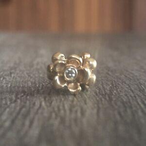 Retired Authentic Pandora 14K Gold Flower Bead Charm with Diamond - 750271D