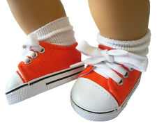Orange Canvas Shoes Sneakers for Bitty Baby + Twins Doll Clothes
