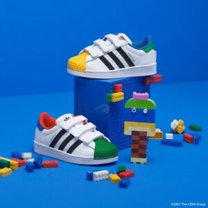 Adidas X LEGO Superstar J (Youth Size 3 Y) Athletic Sneaker Shoes White Green