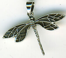 "925 Sterling Silver Large Dragonfly Pendant  50mm (2"") width     nicely detailed"