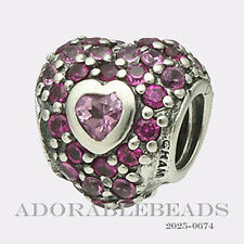 Authentic Chamilia Silver Jeweled Pink CZ Heart in Heart Bead 2025-0674 *RETIRED