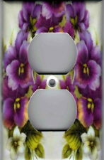 PURPLE PANSIES HOME WALL DECOR OUTLET COVER
