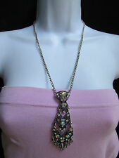 Women Black Silver Fashion Necklace Big Necktie Tie Fancy Pendant Rhinestones