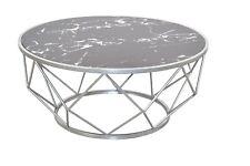 moderner Couchtisch silber Marmorfolie design Wohnzimmertisch edler Sofatisch
