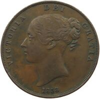 GREAT BRITAIN PENNY 1858 VICTORIA #t100 375