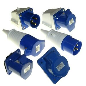 32A 3 Pin Plug Socket Coupler IP44 2P+E 32 Amp 230v 240v Welder Workshop Garage