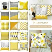 Yellow Geometric Cushion Covers Sofa Pillow Case Home Decors Peach Skin Cashmere