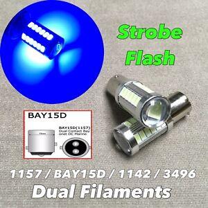 Strobe Front Turn Signal Light 1157 2057 3496 7528 BAY15D Blue LED Bulb W1 J