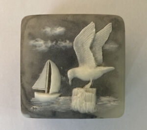 Vintage Design Gifts Soap Stone Trinket Box, Marble Grey, Seagull, Sailboat