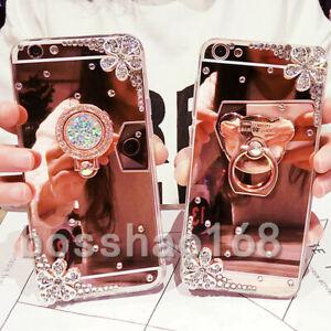 3D Girls' Mirror Bling Diamond Rhinestone Ring Kickstand Phone Soft Case Cover H