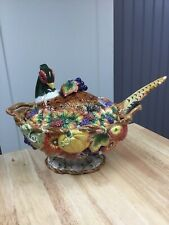 Fitz and Floyd Autumn Bounty Pheasant Soup Tureen with Ladle Min