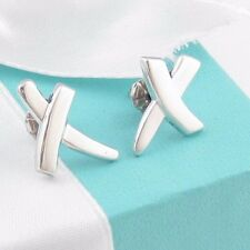 AUTHENTIC EUC TIFFANY & CO PICASSO SILVER KISS X EARRINGS BOX POUCH PACKAGING