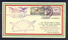 Mexico. First airmail flight cover to Honduras on 1930. Scarce item. FAM-8-33C