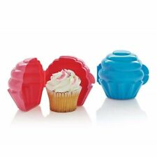 Tupperware Cupcake Keepers Set of 2 Muffin Holders Blue and Pink
