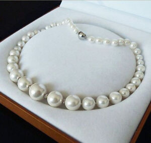 Genuine 6-14mm White South Sea Shell Pearl Round Beads Jewelry Necklace 18''