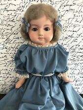 Antique Unmarked 32� Papier Mache Shoulder Head Doll with Glass Eyes