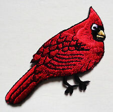 CARDINAL  IRON ON BIRD PATCH APPLIQUE